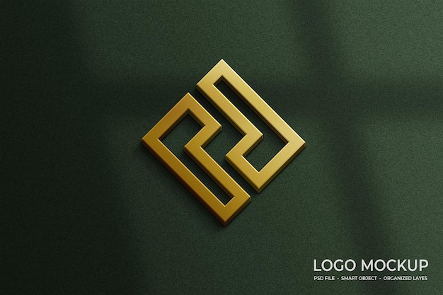 Lujosa maqueta de logotipo 3d dorado