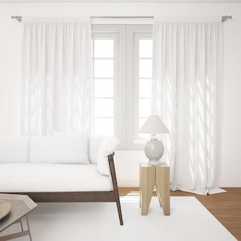 Luminoso salón con sofá blanco maqueta
