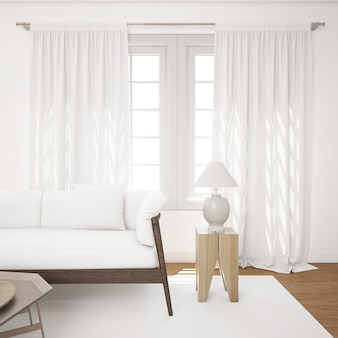 Luminoso soggiorno con divano mockup bianco
