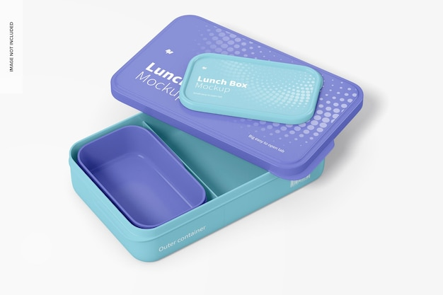 Lunchboxen mockup, geopend