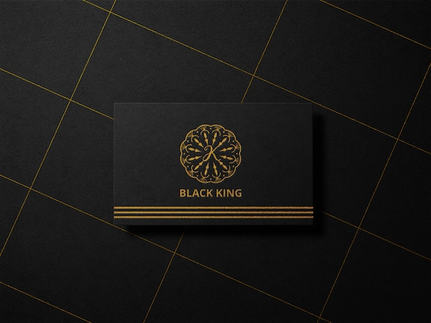 Luxe boekdruk goudfolie logo mockup op zwart papier