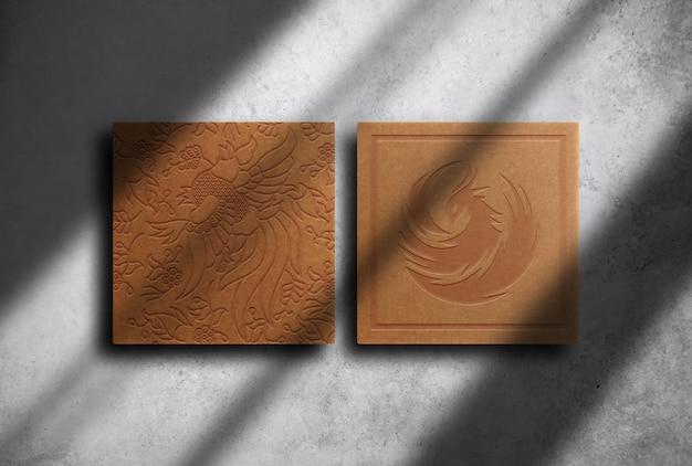 Luxe bruin papier reliëf mockup