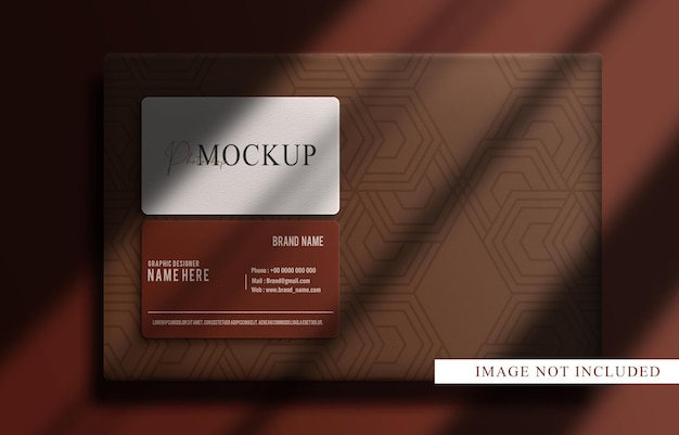 Luxe close-up box en visitekaartje bovenaanzicht mockup