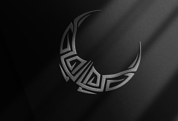 Luxe close-up zilver reliëf logo papier perspectiefweergave mockup