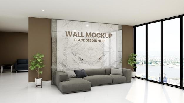 Luxe design interieur van wachtkamer 3d muur mockup