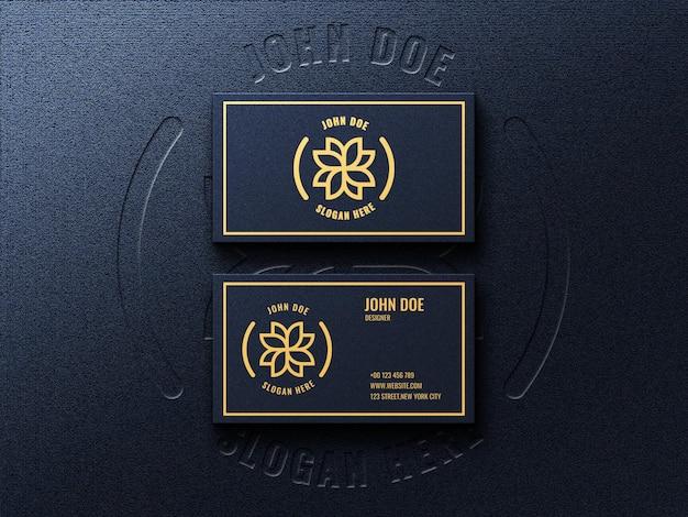 Luxe donkere mockup voor visitekaartjes met reliëf- en reliëfeffect