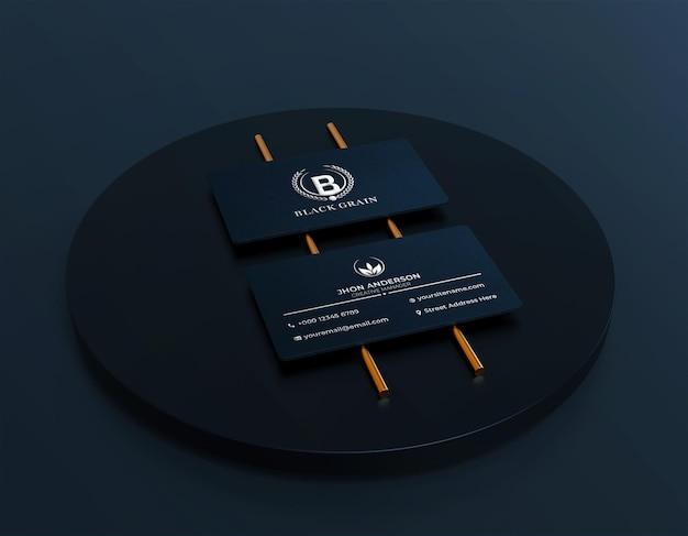 Luxe elegant zilverfolie-logo op visitekaartjemodel