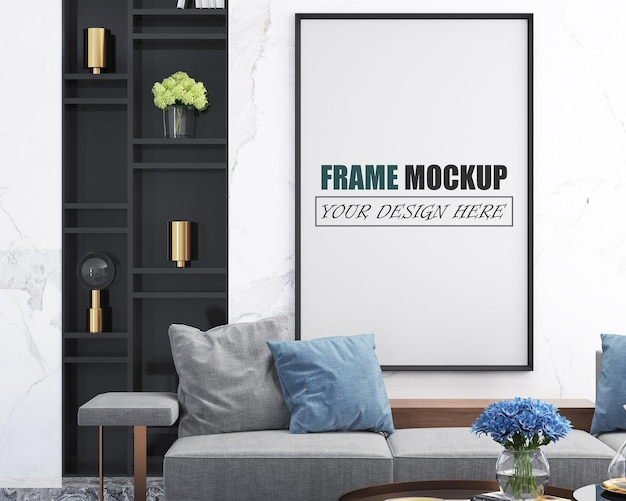 Luxe en modern frame mockup voor de woonkamer