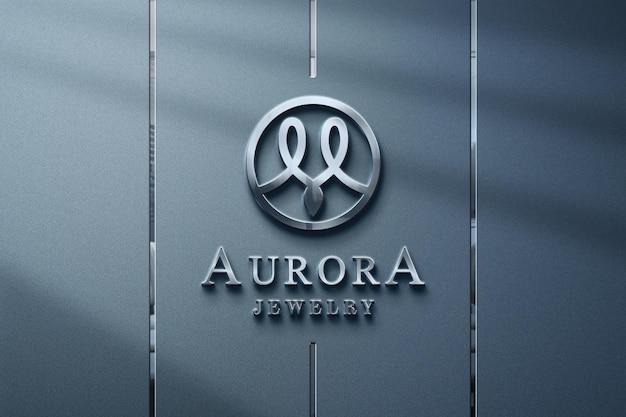 Luxe en realistisch zilveren logo-mockup