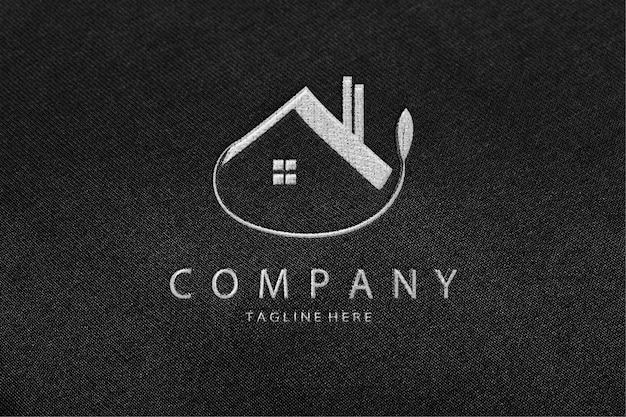 Luxe geborduurde mockup met logo