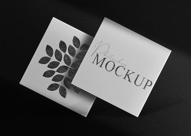 Luxe getekend in potlood logo vierkante mockup