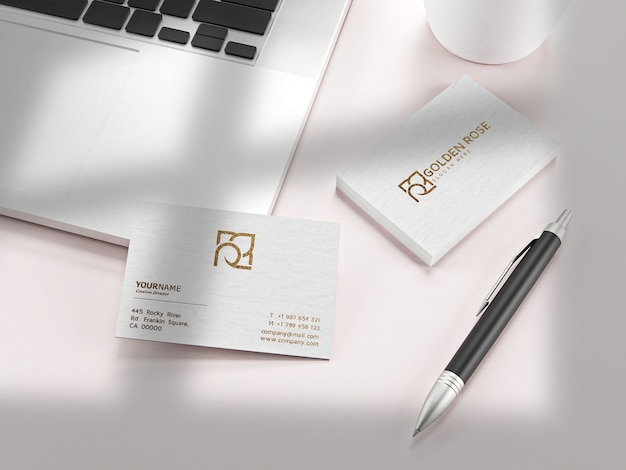 Luxe geweven visitekaartje op witboekmodel
