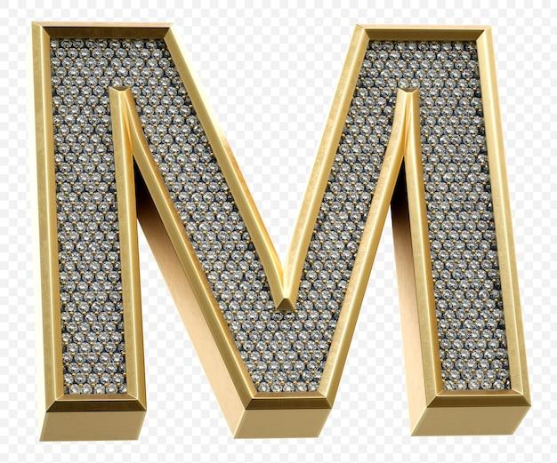Luxe gouden alfabet met diamanten letter m geïsoleerde 3d render afbeelding