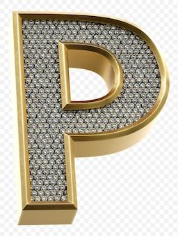 Luxe gouden alfabet met diamanten letter p geïsoleerde 3d render afbeelding