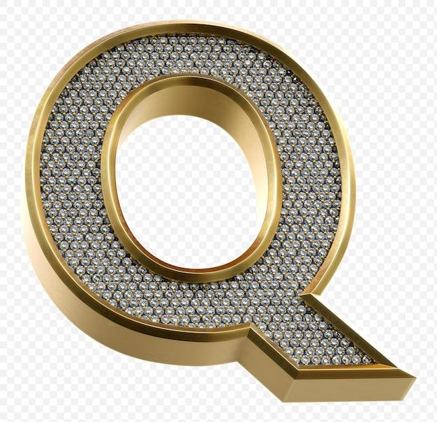 Luxe gouden alfabet met diamanten letter q geïsoleerde 3d render afbeelding