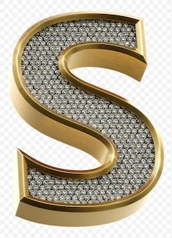 Luxe gouden alfabet met diamanten letter s geïsoleerde 3d render afbeelding