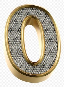 Luxe gouden alfabet met diamanten nummer 0 geïsoleerde 3d render afbeelding