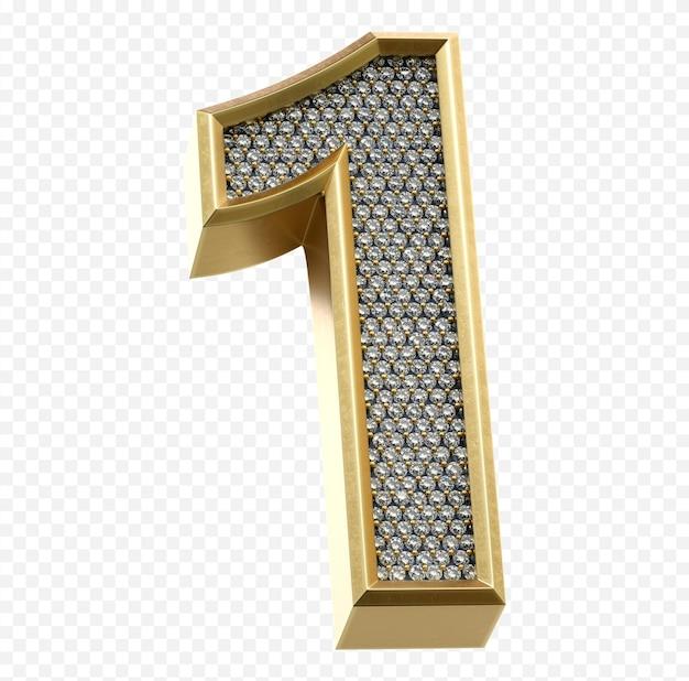 Luxe gouden alfabet met diamanten nummer 1 geïsoleerde 3d render afbeelding