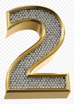 Luxe gouden alfabet met diamanten nummer 2 geïsoleerde 3d render afbeelding