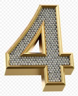 Luxe gouden alfabet met diamanten nummer 4 geïsoleerde 3d render afbeelding