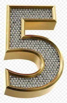 Luxe gouden alfabet met diamanten nummer 5 geïsoleerde 3d render afbeelding