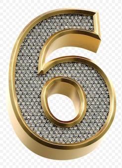 Luxe gouden alfabet met diamanten nummer 6 geïsoleerde 3d render afbeelding