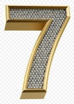 Luxe gouden alfabet met diamanten nummer 7 geïsoleerde 3d render afbeelding