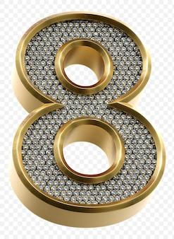 Luxe gouden alfabet met diamanten nummer 8 geïsoleerde 3d render afbeelding