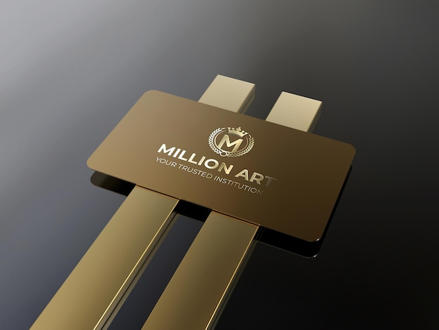 Luxe gouden logo-ontwerp op metalen visitekaartje