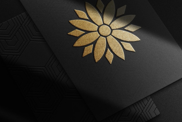 Luxe gouden papieren reliëf mockup