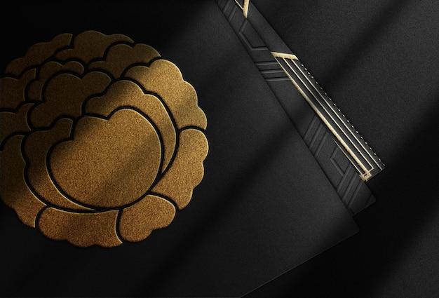 Luxe gouden reliëf logo mockup zwarte kaartstapel