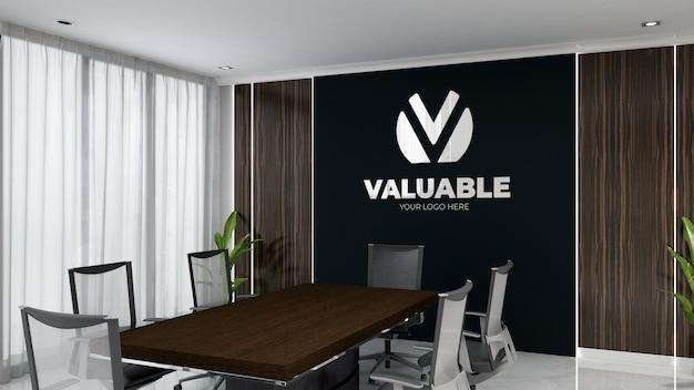 Luxe kantoor vergaderruimte zwarte muur logo mockup