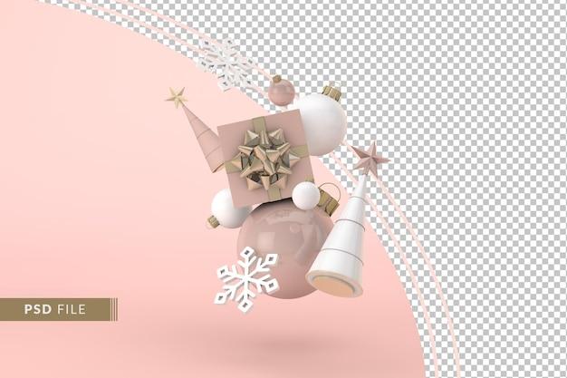 Luxe kerstversiering met roze achtergrond