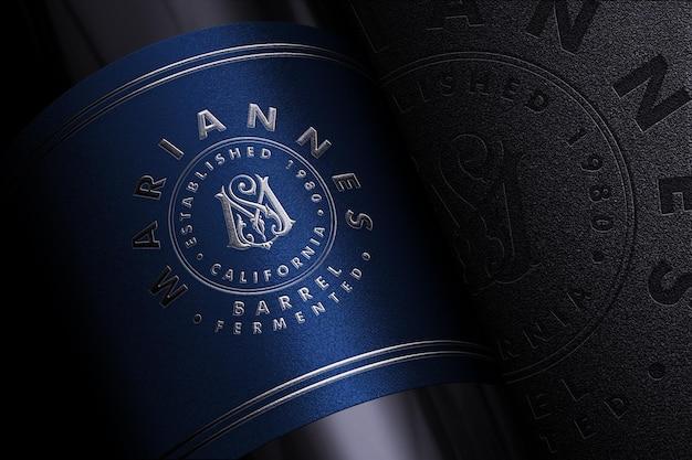 Luxe logo branding mockup op productlabel