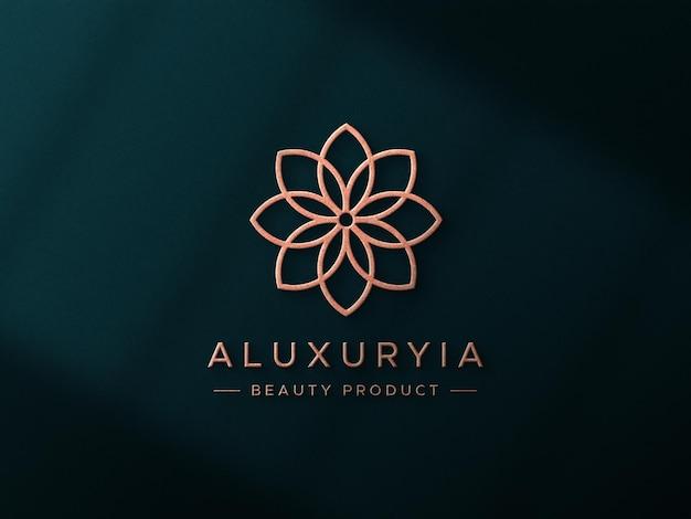 Luxe logo mockup op 3d-muur