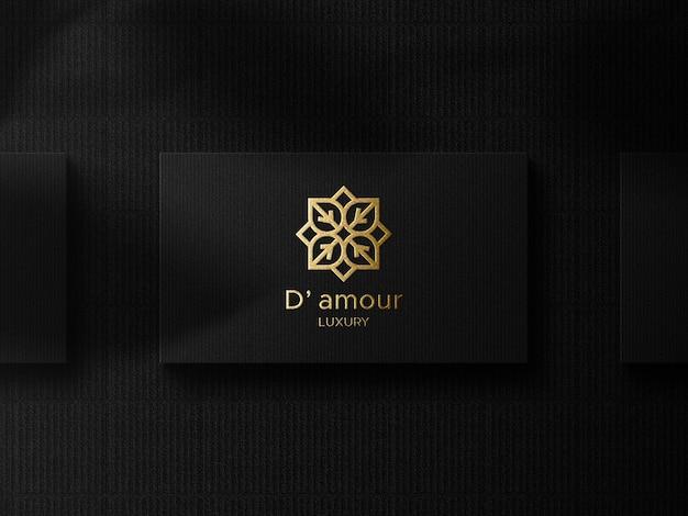 Luxe logo mockup op donker bovenaanzicht visitekaartje Premium Psd