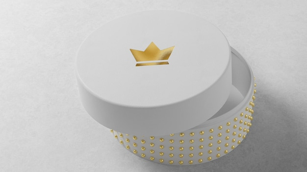 Luxe logo mockup op ronde witte sieraden horlogedoos