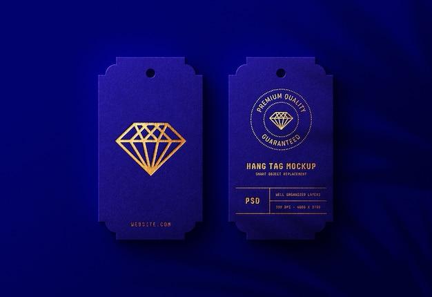 Luxe logo mockup op royal blue hang tag