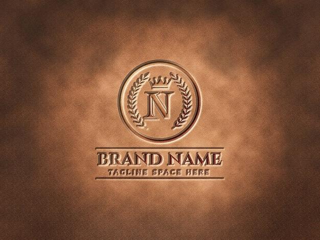 Luxe logo mockup op textuur achtergrond