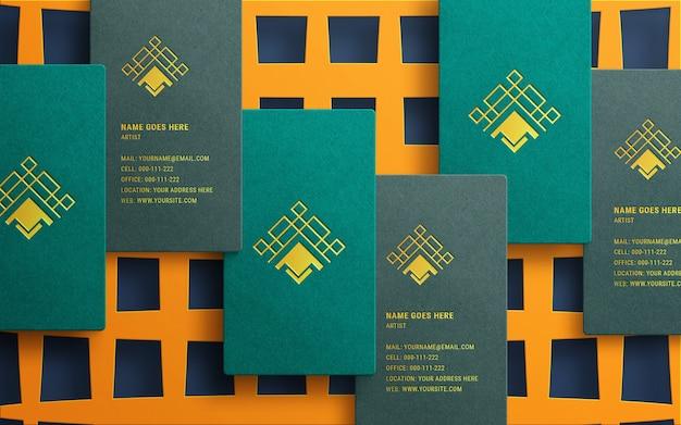 Luxe logo mockup op visitekaartje van bovenaanzicht