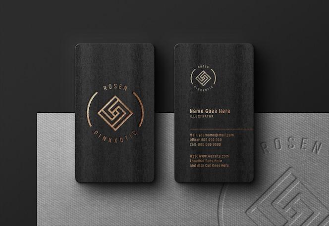 Luxe logo mockup op zwart visitekaartje