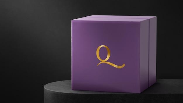 Luxe logo mockup paarse sieraden horlogedoos