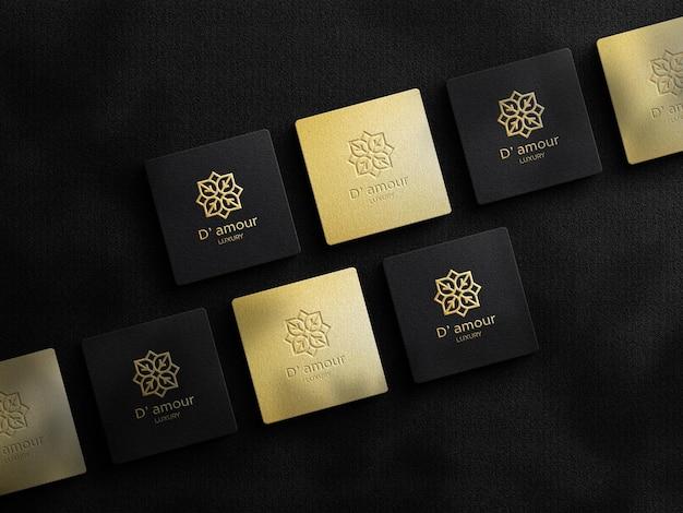 Luxe logomodel op vierkant visitekaartje