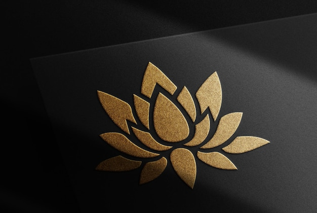 Luxe lotus gouden reliëf mockup