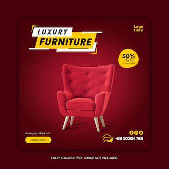 Luxe meubelen verkoop sjabloon voor sociale media-spandoek
