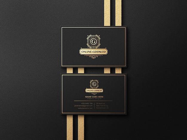 Luxe mockup voor visitekaartjes met reliëf- en reliëfeffect