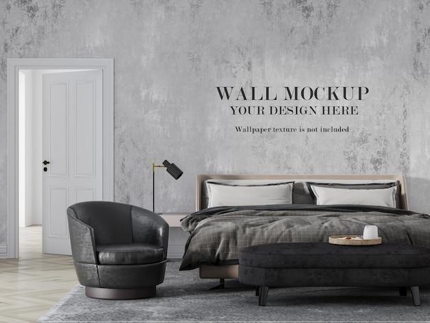 Luxe moderne slaapkamer met mockup-ontwerp aan de muur