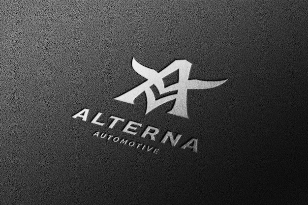 Luxe perspectief zilver inscriptie logo-mockup