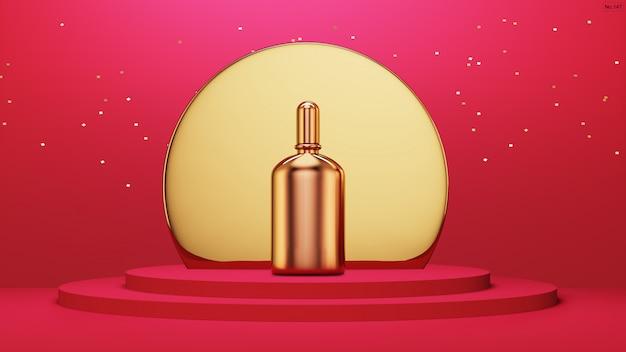 Luxe product met goud met afgerond frame op rood podium