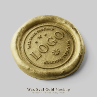 Luxe ronde gouden faux post lakzegel stempel realistisch logo mockup perspectief